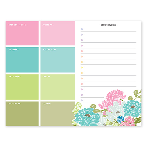 Country Chic Bouquet Calendar Notepad