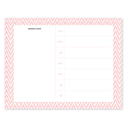 Distressed Chevron Coral Calendar Notepad