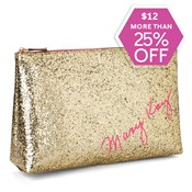 Gold Glitter Cosmetic Bag