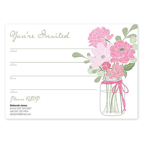 Country Chic Bouquet Pink Fill In Invitations Mary Kay Connections